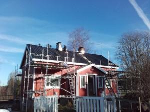 Omakotitalo keskeneräinen katto